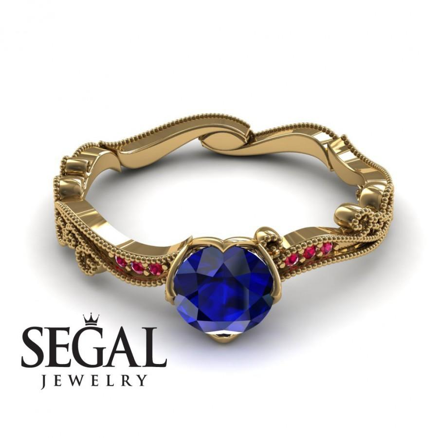 Mariage - Unique Engagement Ring 14K Yellow Gold Victorian Ring Edwardian Ring Sapphire With Ruby - Sophie Victorian Engagement Ring