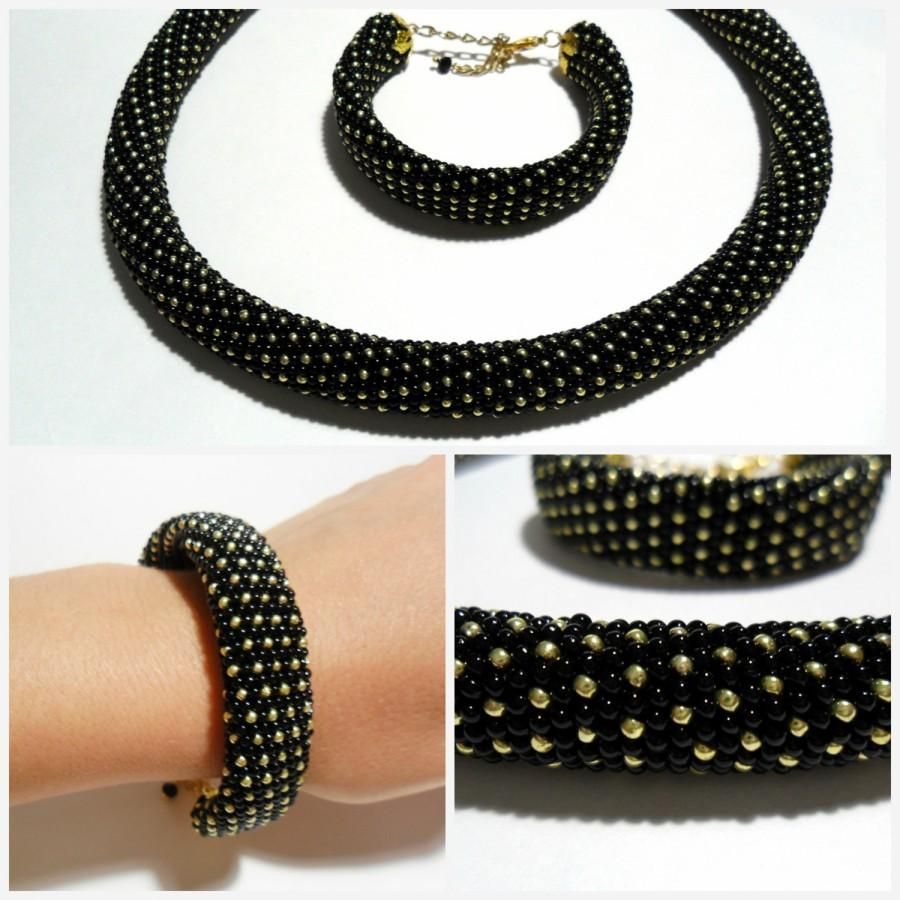 Black Gold Rope Necklace Bracelet Classic Casual Black Gold Jewelry ...