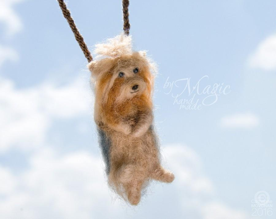 Wedding - Needle felted yorkshire terrier on a braided necklace, felted animal, pet pendant, dog miniature, gift for pet owner, special, small toy