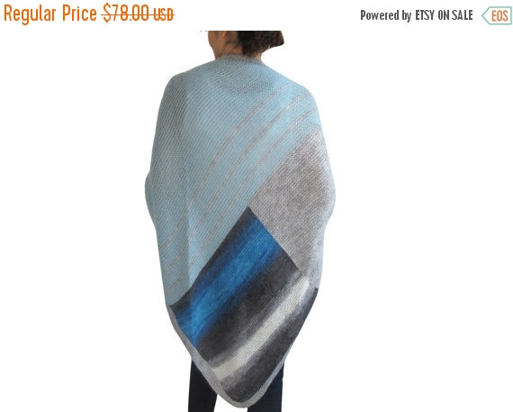 Hochzeit - 50% CLEARENCE Triangle Mohair Shawl Blue - Gray Tones Color by Afra