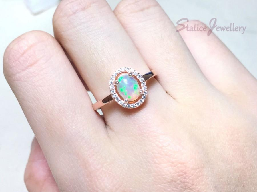 Mariage - SALE! Opal Engagement Halo Ring Rose Gold, Genuine Authentic Natural Ethiopian Fire Opal Sterling Silver Anniversary Promise Wedding Gift