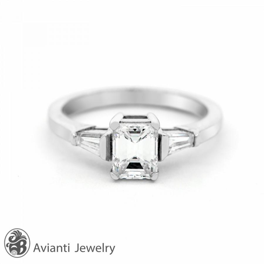 ring emerald cut engagement ring emerald and baguette