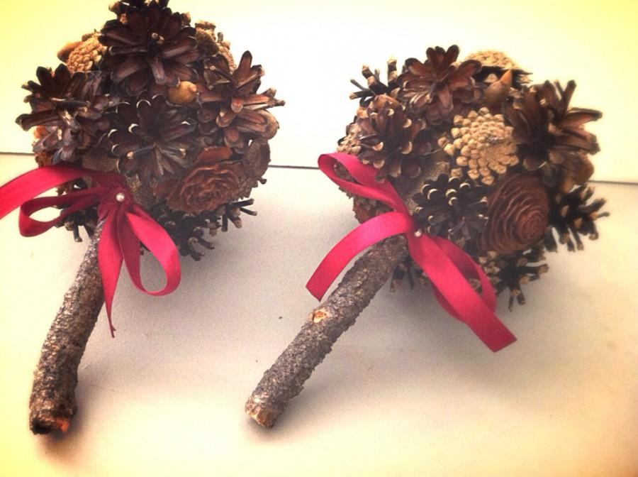 Rustic Wedding Bridesmaids Bouquet Pine Cone Winter Fall Country