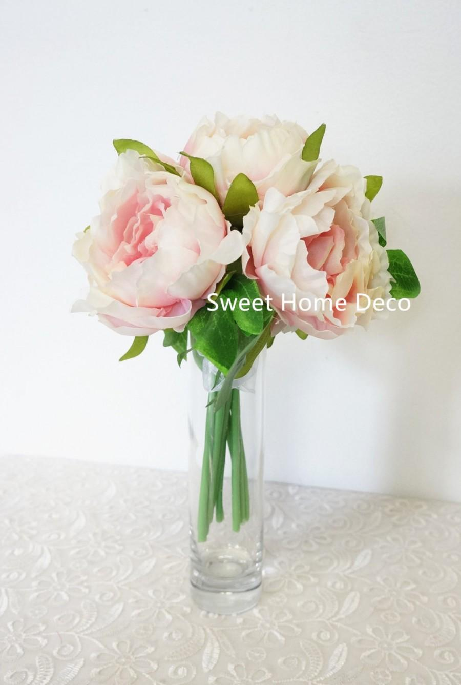 Mariage - JennysFlowerShop 9'' Soft Silk Peony Artificial Flower Bouquet (10 stems/5 Flower Head) for Wedding/ Home Decorations Pink