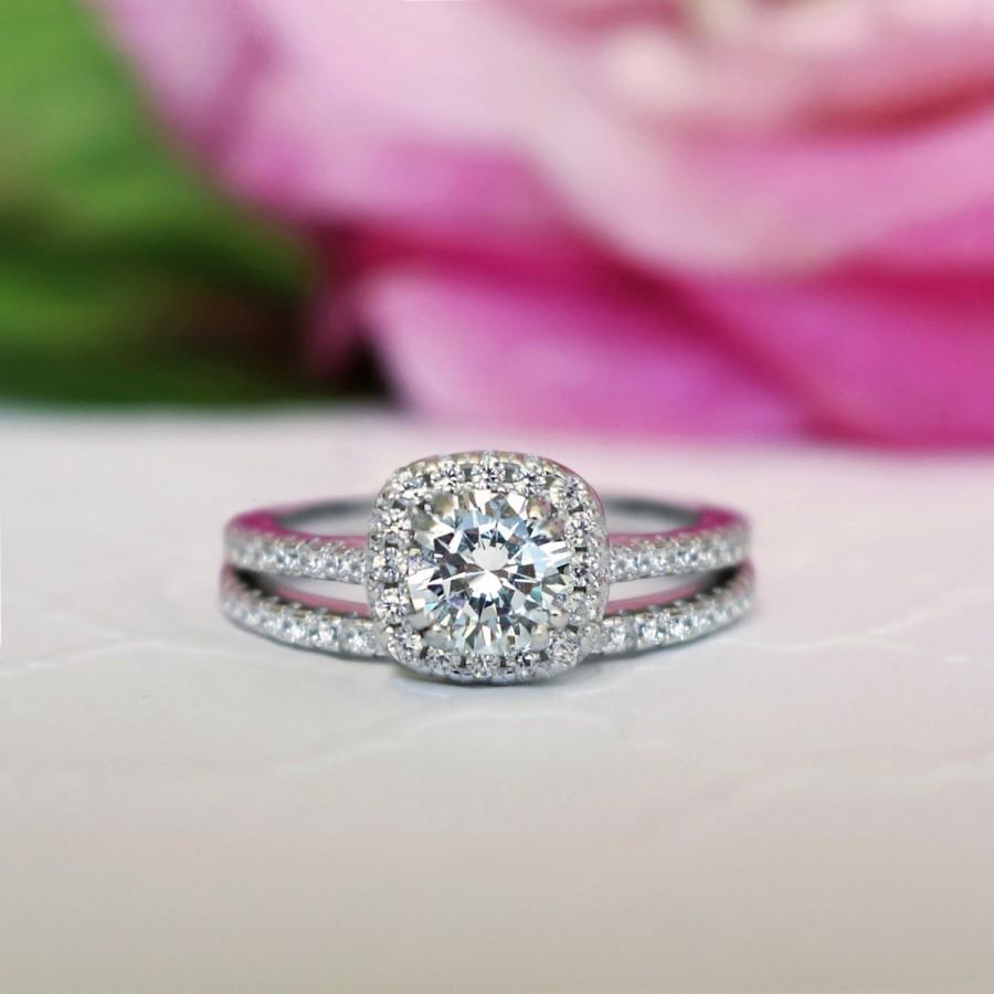 New! 3/4 Ctw Classic Square Halo Wedding Set, Round Engagement Ring ...