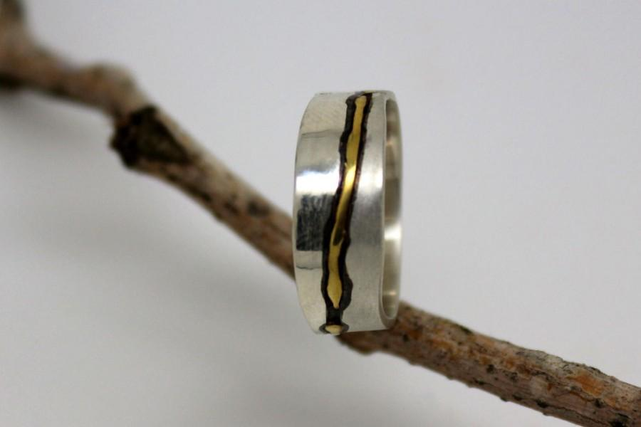 Wedding - 22k gold and 925 sterling silver modern wedding band, women or men commitment ring