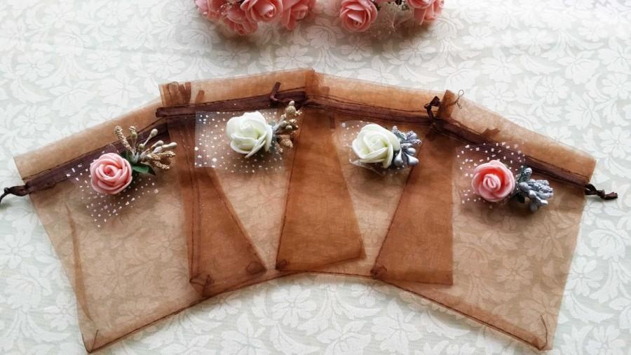 زفاف - 20 Organza Bags,Wedding Favor Bags, Candy Drawstring Bags, Christmas Gift Bags,Party Bags,Jewelry Bags
