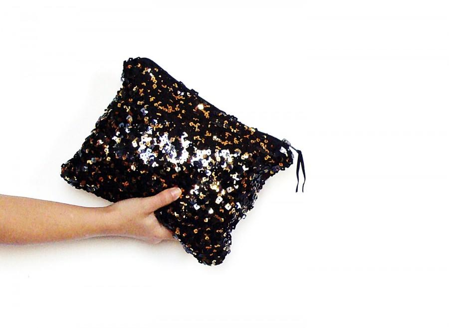 Mariage - Gold and black sequined clutch, metallic gold sequins bag, sequin party clutch, shining pouch, sparkling clutch, black and gold purse