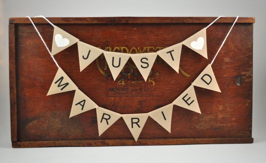 زفاف - JUST MARRIED Cake Topper  Modern Bunting Banner wedding party neutral beige cotton Wedding Bridal Engagement Celebration Party