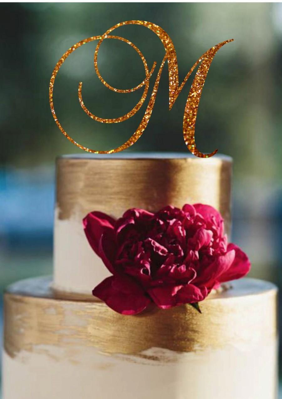 Mariage - Monogram Cake Topper Initial Wedding Cake Topper Custom Monogram Topper Personalized Letter  Monogram Wedding Cake Topper Personalized