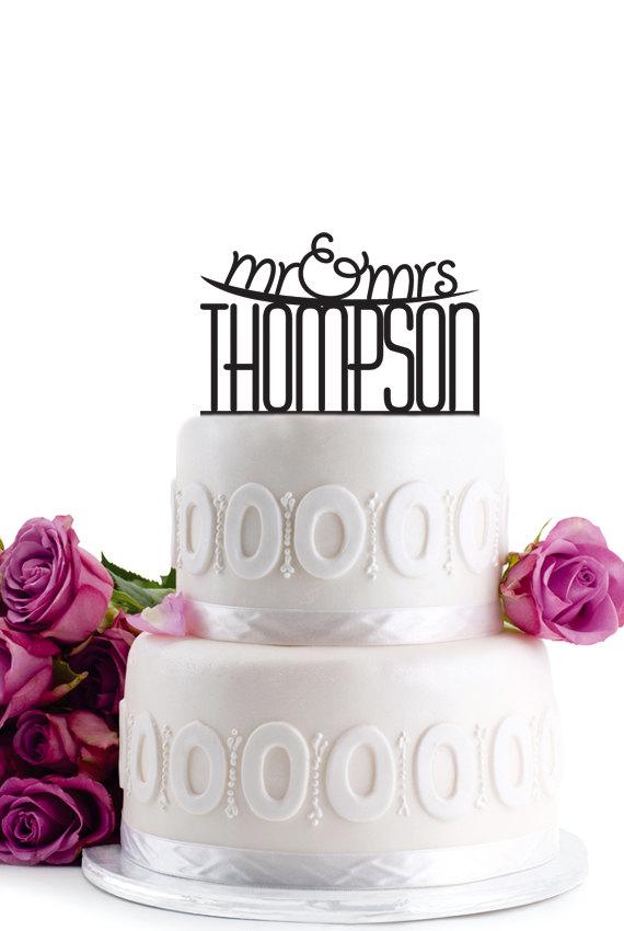 Wedding - ON SALE !!! Wedding Cake Topper - Personalized Cake Topper - Mr and Mrs - Monogram Cake Topper - Cake Decor - For Anniversary