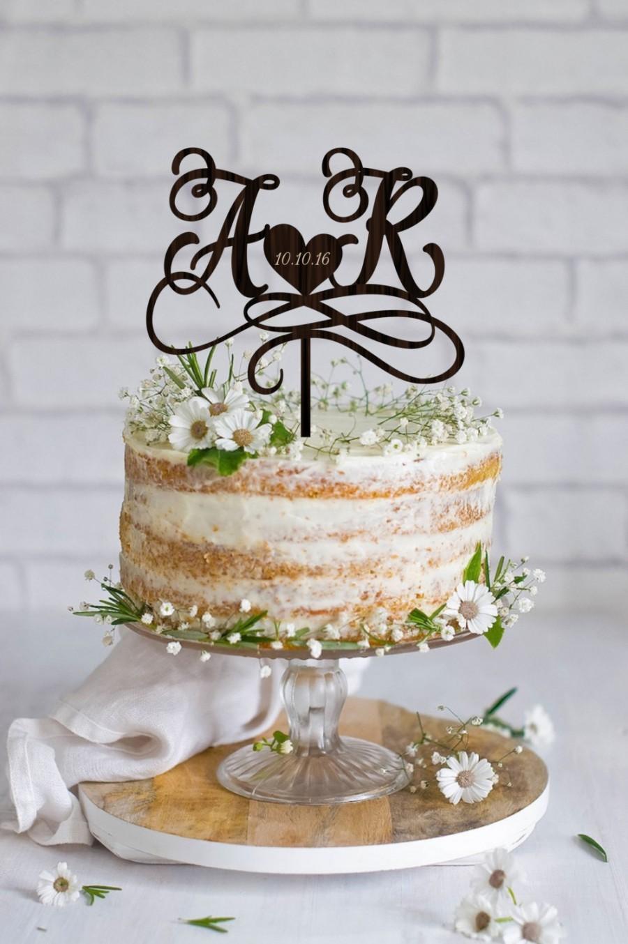 Свадьба - Wedding Cake Topper  Initials    Cake Topper Names   Personalized  Wedding Cake Topper  Wood Cake Topper Monogram