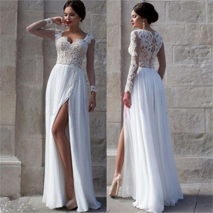 Hochzeit - White Side Slit Elegant Long Sleeves Lace Cheap Wedding Party Long Prom Dresses, PD0072