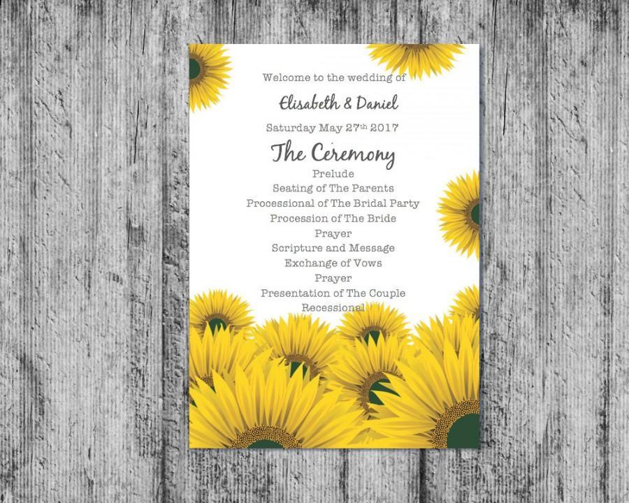 زفاف - Printable Wedding Program , Downloadable Wedding Program, Wedding Program, DIY Program, Sunflower Program, Printable Program,Program