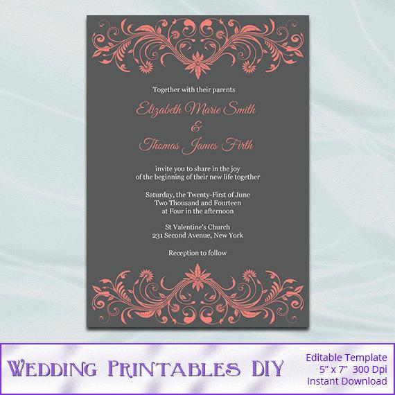 زفاف - Coral and Gray Wedding Invitation Template, Diy Printable Modern Bridal Shower Party Invites, Editable Text, Instant Download Pdf Word P73