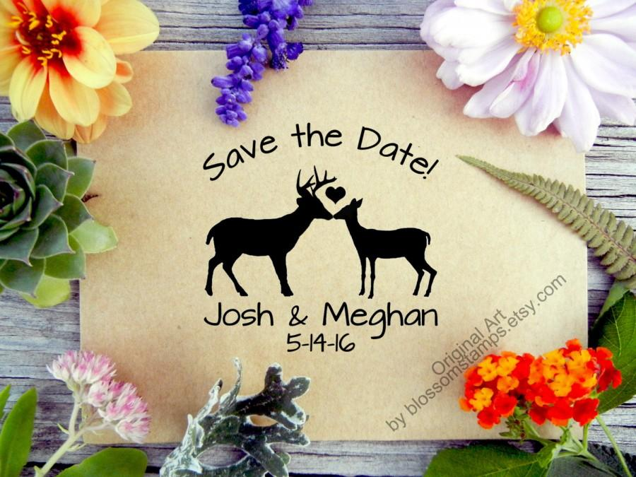 Mariage - Wedding Save the Date Rubber Stamp // Custom Woodland Rustic Buck and Doe // Handmade by Blossom Stamps