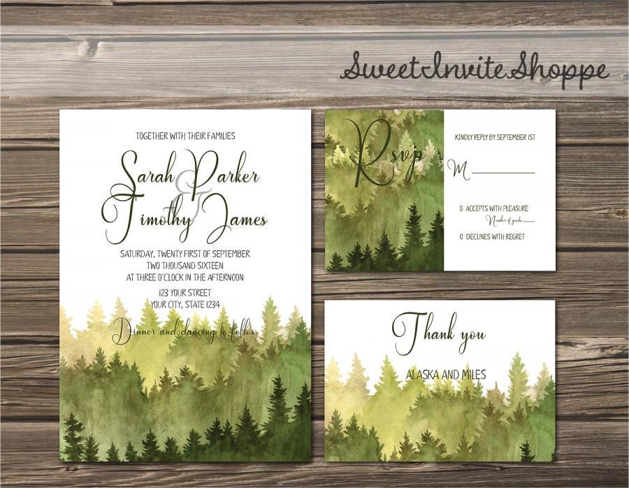 Watercolor Trees Wedding Invitation Rustic Mountain Invitation