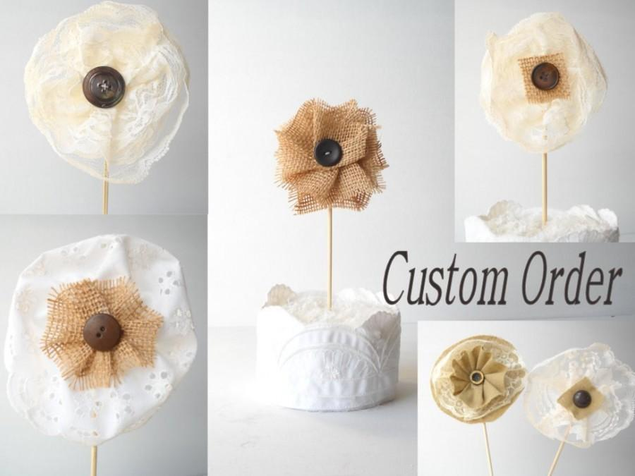 Свадьба - 6 Fabric Flowers Wedding Table Decor Wedding Cake Topper Personalized Party Favor Reception DecorationsShabby Cottage Home Decor