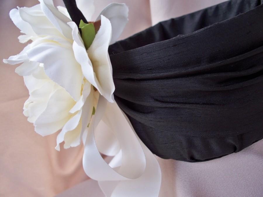 Свадьба - Flower Girl Basket Black Ivory Silk Peony Wedding Bridal