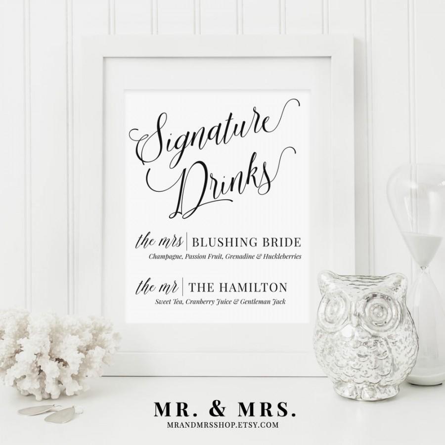 Свадьба - Signature Drinks Wedding Sign