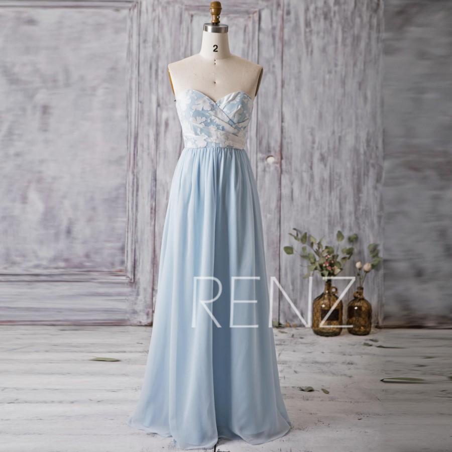 Hochzeit - 2016 Light Blue Bridesmaid Dress Long, Strapless Sweetheart Floral Pattern Wedding Dress, Backless Prom Dress, Women Formal Dress (L127)