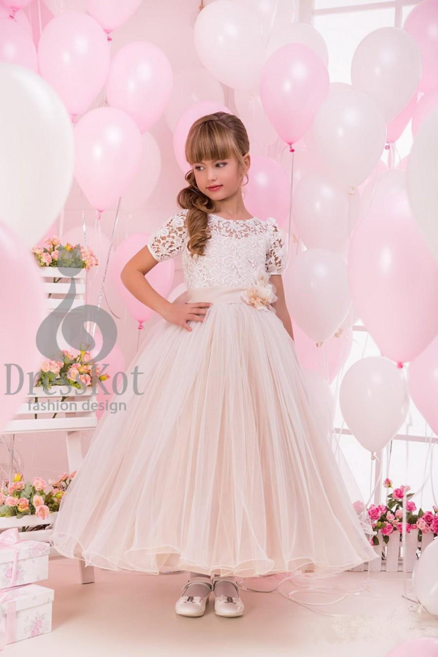 Свадьба - Flower Girl Dress - Holiday Bridesmaid Birthday Wedding Party Dress
