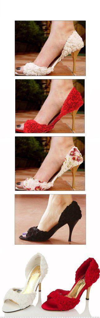 Wedding - Elegant Flower Lace Women's High Heels Fish Toe Wedding Shoes, S010