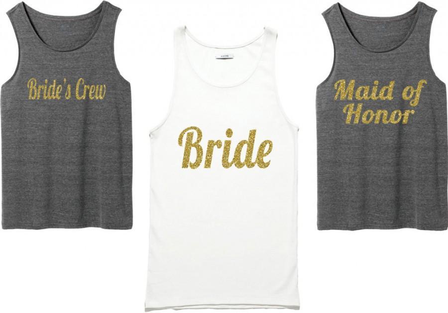 Wedding - Bachelorette Party Shirts. Bridal Party Shirts. Bridesmaid Shirts. Wedding Shirts. Bridal Tank Top.bridesmaid t-shirt gold Shirt. Bride Gift