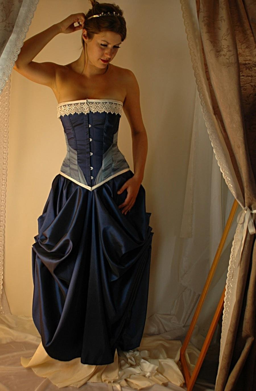 Hochzeit - Niniane - Custom made midnight blue and ivory steel boned corset gown