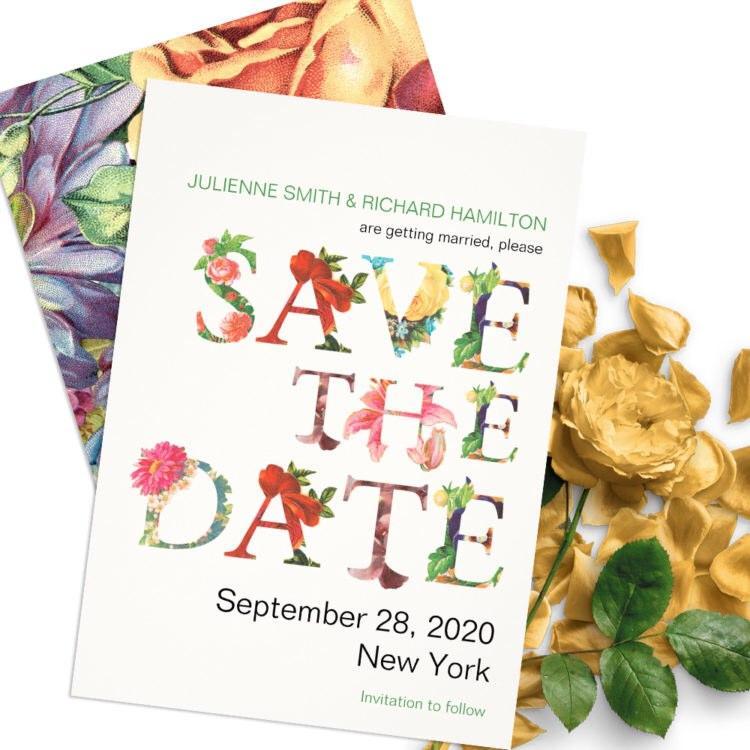 زفاف - Modern floral save the date