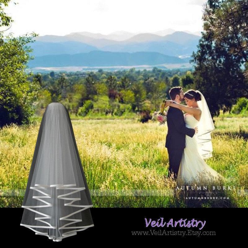 Mariage - Short Wedding Veil, Radiance Veil, 2-Tier Bridal Veil, Bias-Bound Edge Veil, Waist Elbow Veil, Made-to-Order Veil, Handmade Veil
