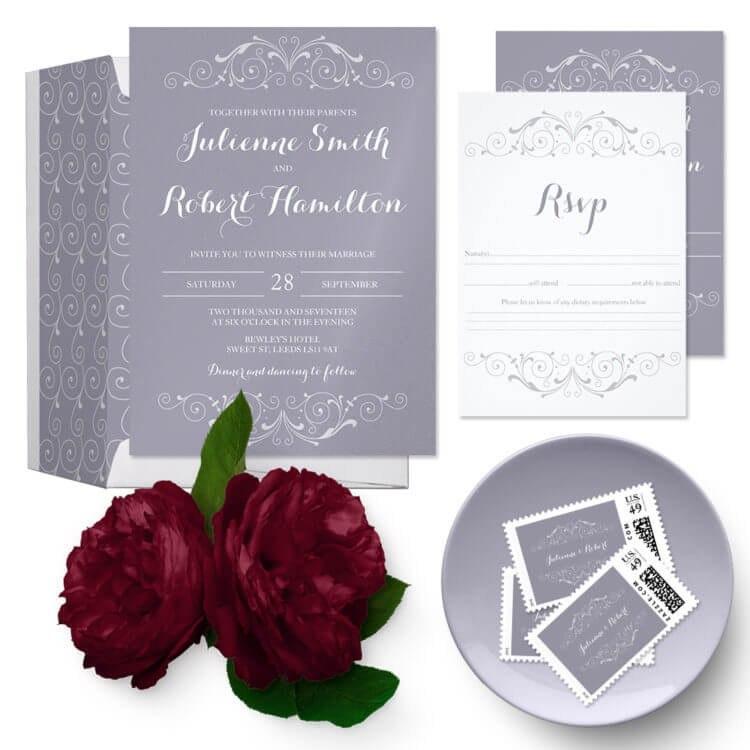 زفاف - Lilac gray vintage wedding suite