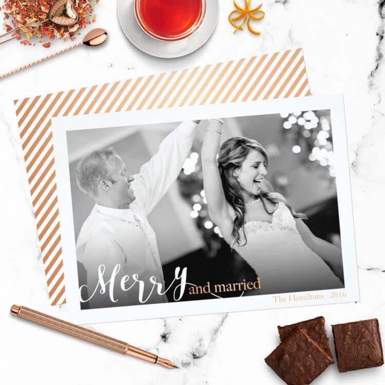 Newlywed Typography Photo Christmas Card #2605025 - Weddbook