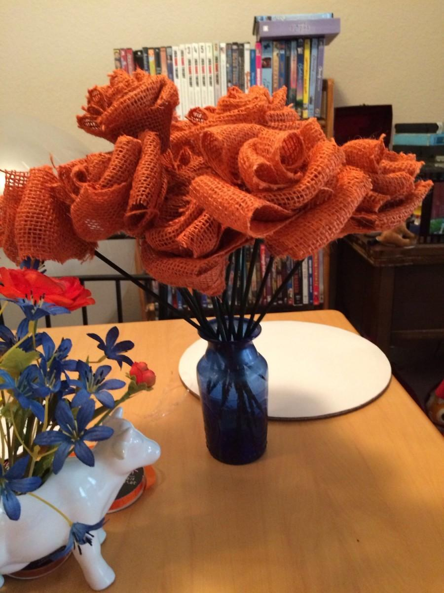 Mariage - Orange Burlap Flowers with Stems