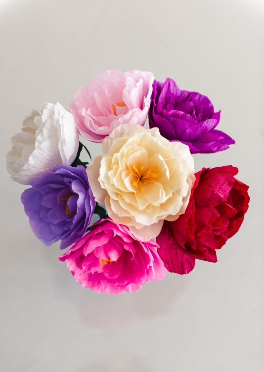 Paper Flower Bouquet, Crepe Peonies, Wedding Bouquet, Bridesmaid ...