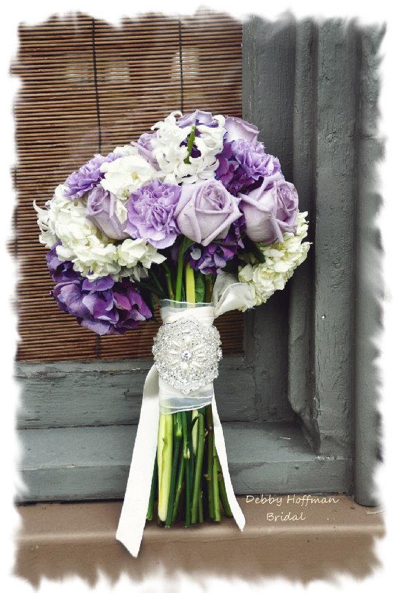 Hochzeit - Bridal Bouquet Wrap, Wedding Bouquet Wrap, Rhinestone Pearl Bouquet Wrap, Bouquet Cuff, Pearl Crystal Bouquet Wrap, Cuff Bracelet No. 3001BW