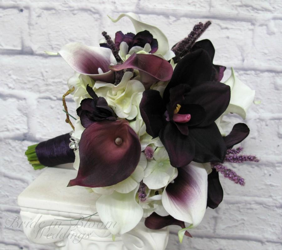 Hochzeit - Brides bouquet real touch calla lily plum picasso orchid Wedding bouquet