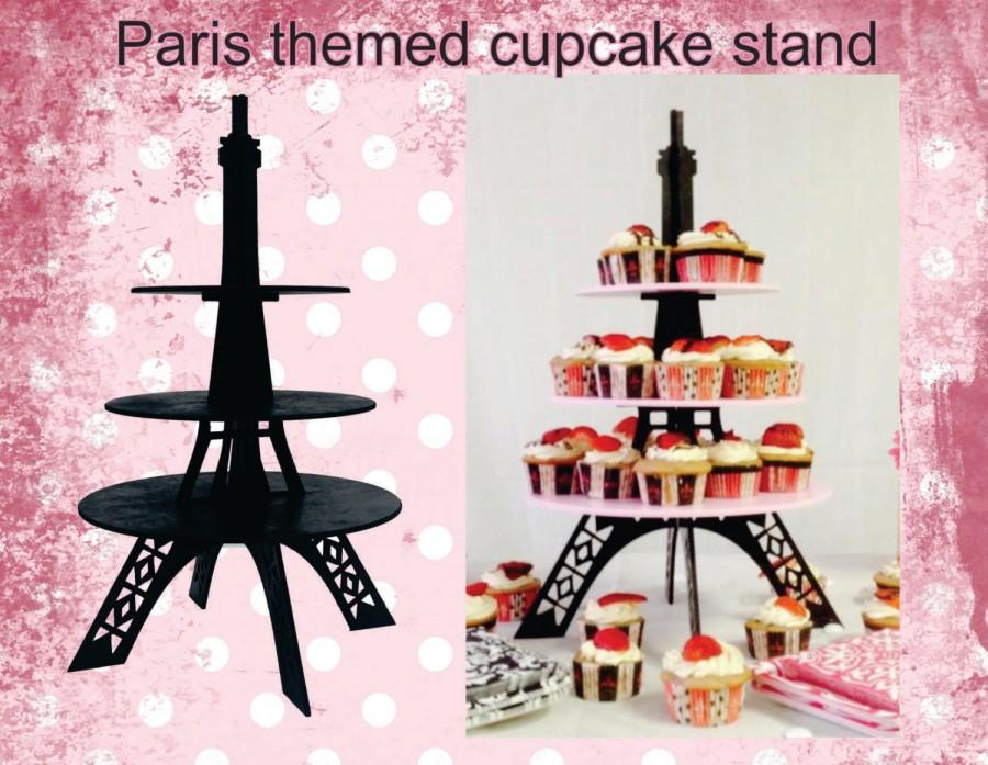 Mariage - Eiffel Tower cupcake stand all black