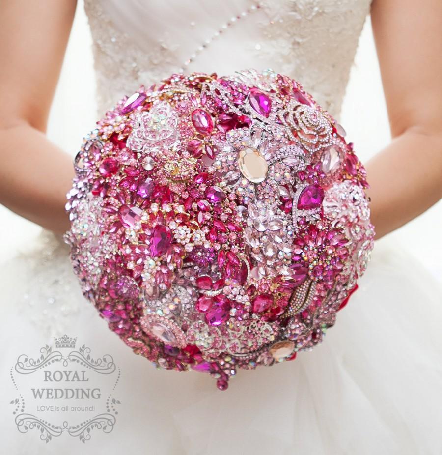 Свадьба - Magenta and Hot Pink Brooch Bouquet Wedding Bouquet Bridal Bouquet Bridesmaids Bouquet Magenta Bouquet Hot Pink and Fuchsia Brooch Bouquet