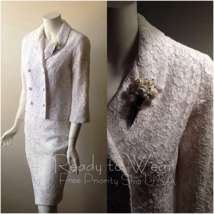 Vintage Wedding Suit / Lace Wedding Dress / Bridal Dress Suit ...