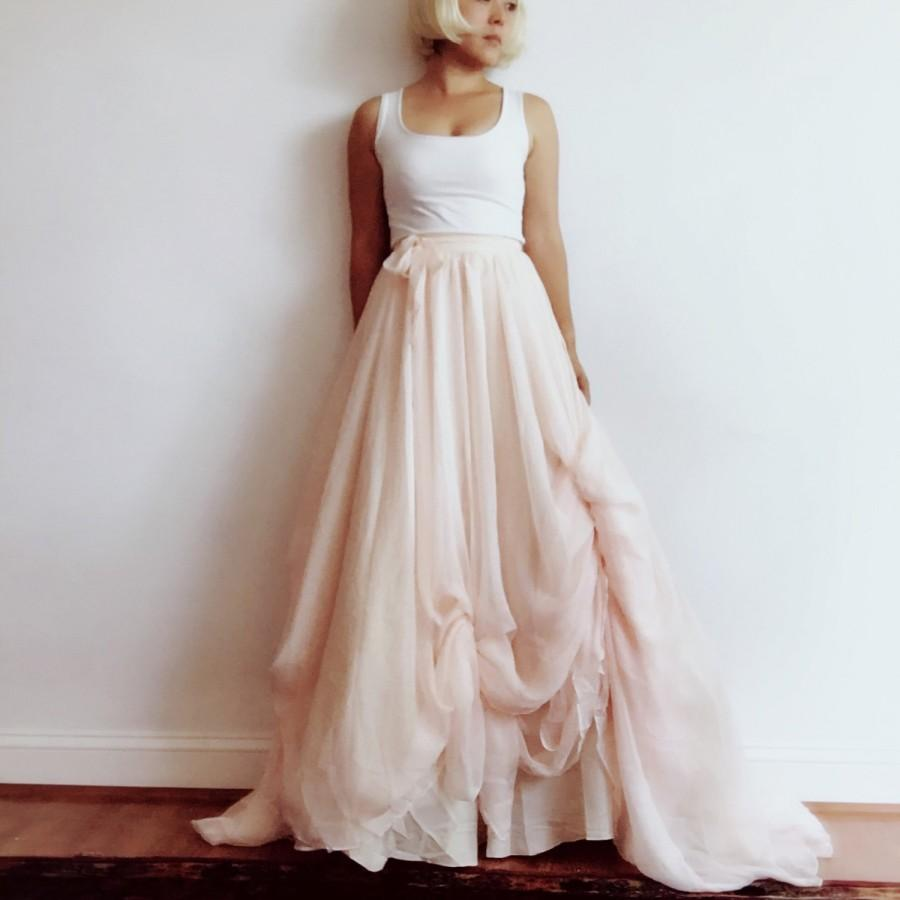 Mariage - Eco- chiffon skirt with sweep train-Light-Summer-white-ivory-romantic-26 colors available