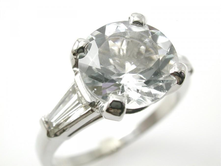 Wedding - Holiday Special Platinum Aquamarine Ring, Large Baguette Diamonds, Diamond Alternative Huge Statement, Special Wedding Amazing Gift for Her
