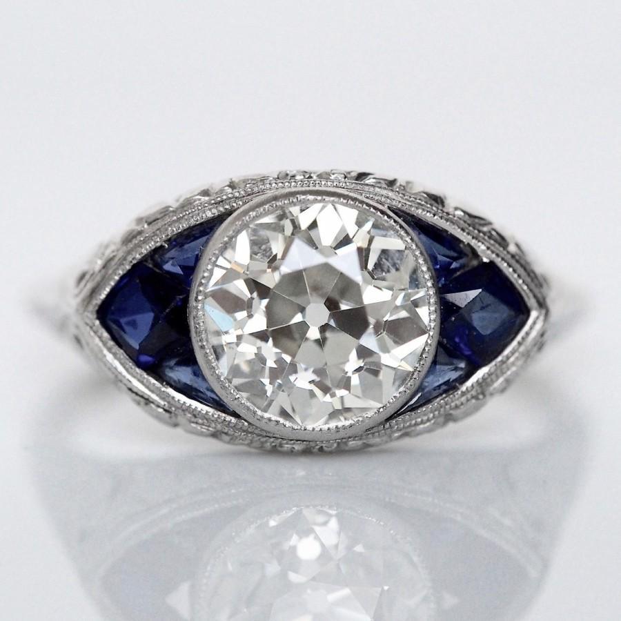 Mariage - Circa 1920 - Platinum Art Deco GIA Certified 1.74ct Old European Diamond with Sapphires - ATL#457