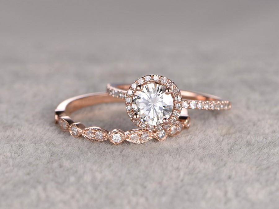 Свадьба - 2 Moissanite Bridal Set,Engagement ring Rose gold,Diamond wedding band,14k,6.5mm Round Cut,Gemstone Promise Ring,Pave Set,Art Deco eternity