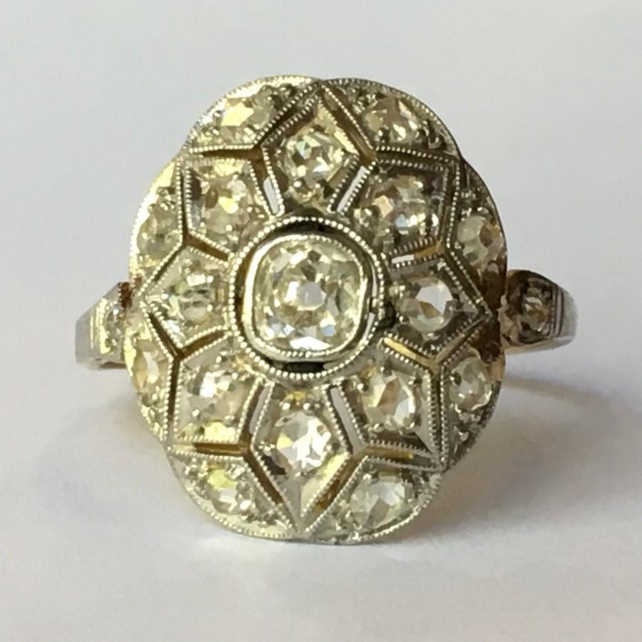 Mariage - Antique Diamond Ring. Diamond Cluster Ring. Art Deco. 18k Gold. Unique Engagement Ring. April Birthstone. 10 Year Anniversary. + APPRAISED +
