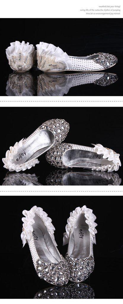 Hochzeit - Sparkly Crystal Flat Heels Pointed Toe Rhinestone Wedding Bridal Shoes, S004