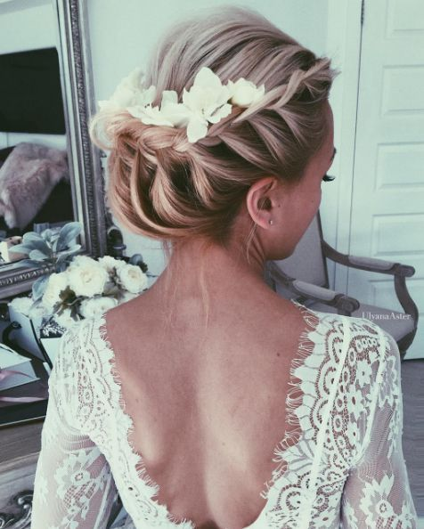 Hochzeit - French Braided Updo Flower Hairpiece Wedding Hairstyle