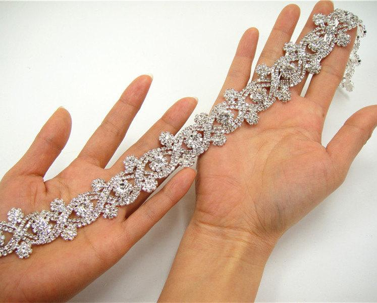 Wedding rhinestones applique vintage rhinetones trim for dress