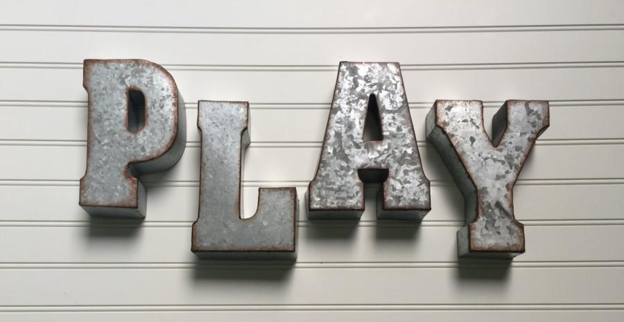 decorative metal letter play wall letter sign signage With rustic letters for nursery