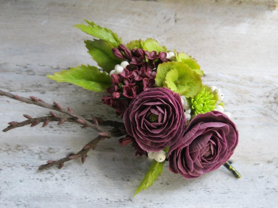 Dark Purple Flower Fascinator Wedding Hair Piece Floral Hair Clip